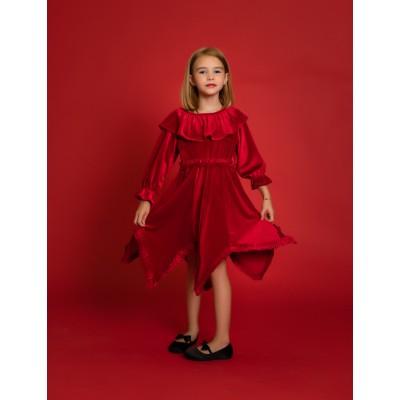 Girls Ruffle Dress in Red Velvet