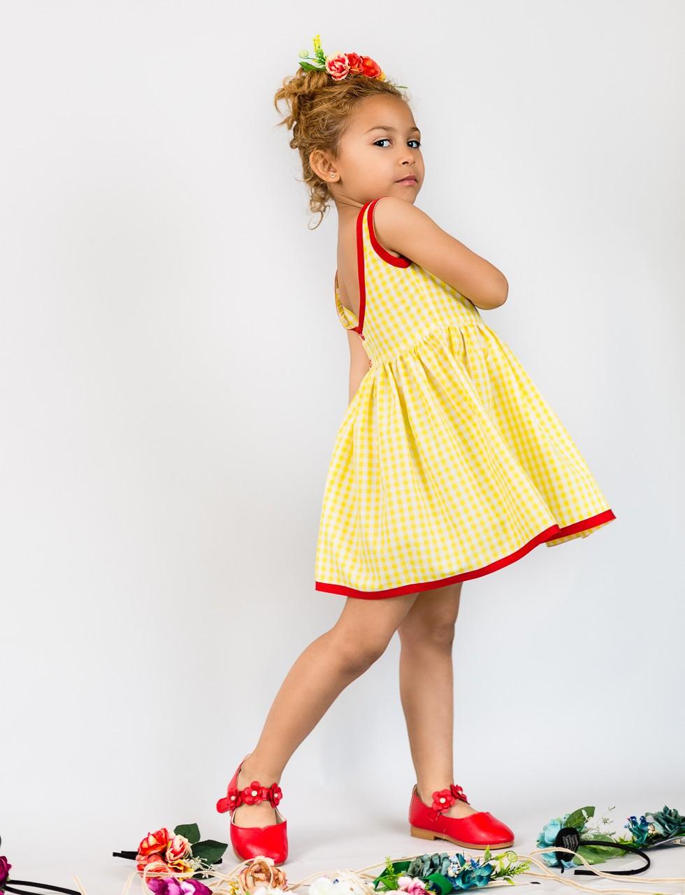 Girls Classic Gingham Dress in Yellow