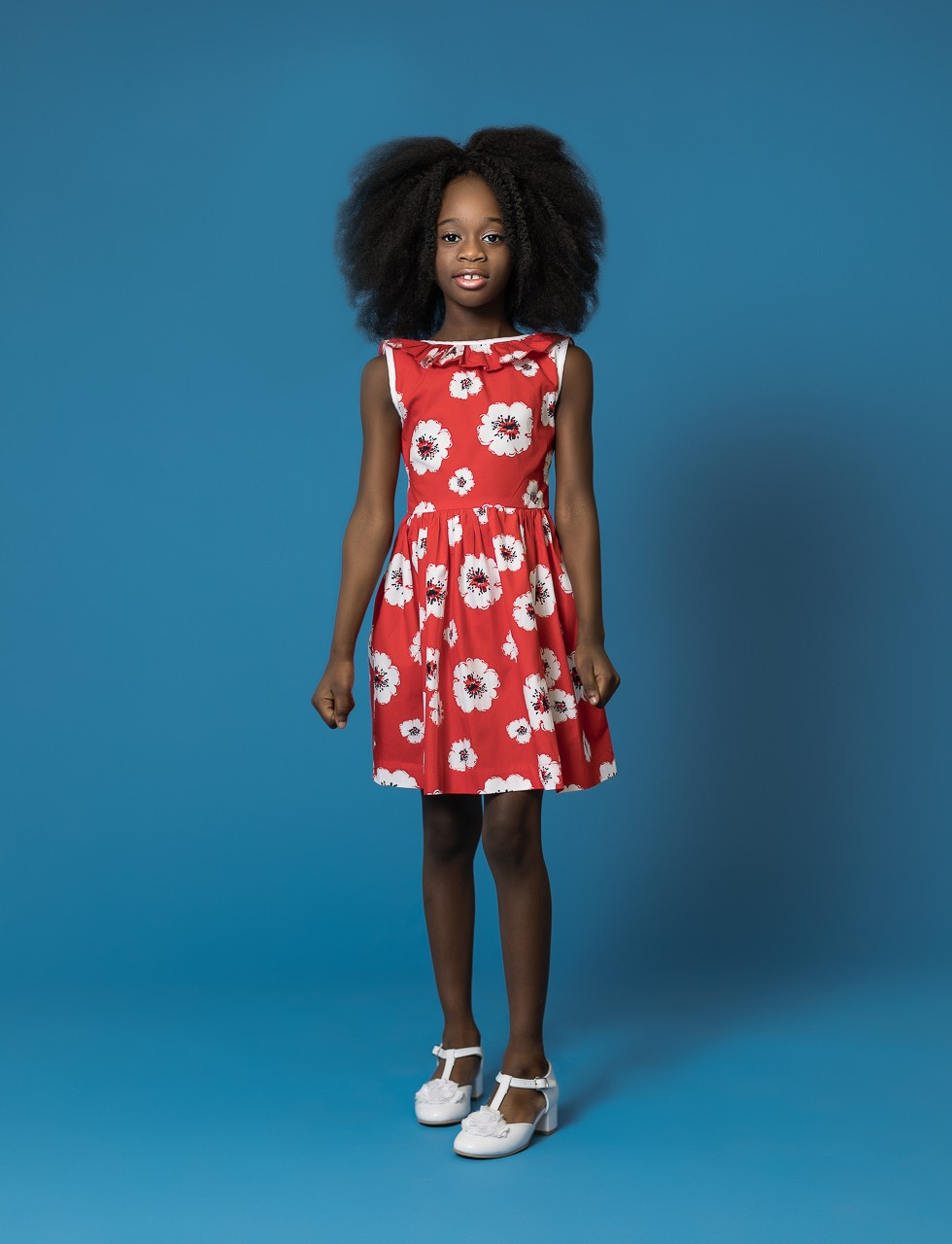 Girls V-Back Ruffle Dress in Poppy