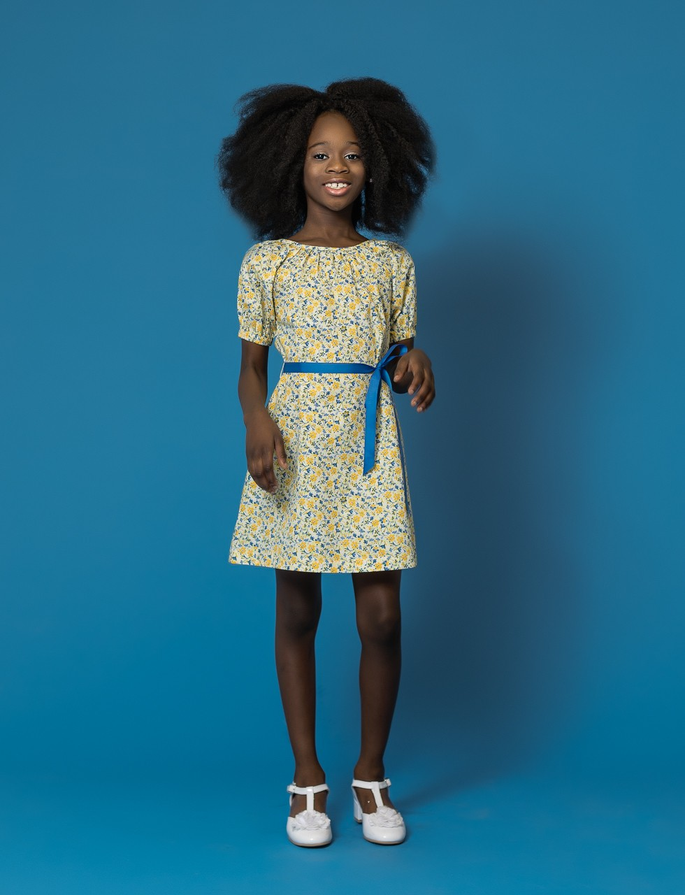 Girls A-Line Dress in Yellow Ditsy Print