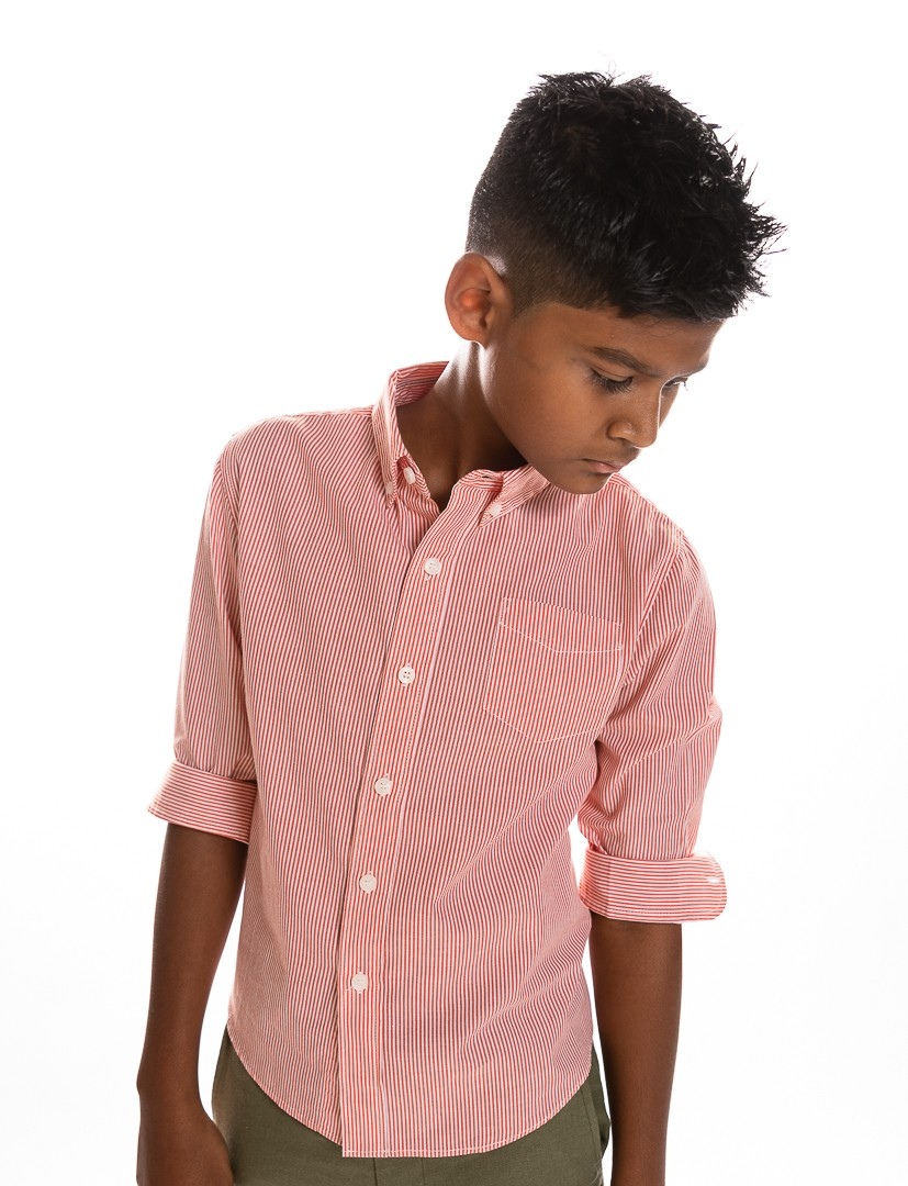 Boys UNTUCKED  Shirt in Orange Pinstripe