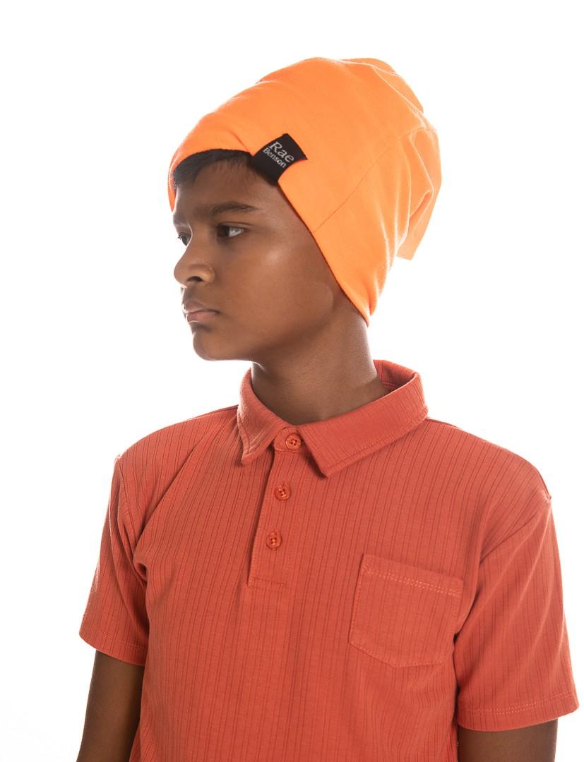Slouchy Beanie in Orange Neon