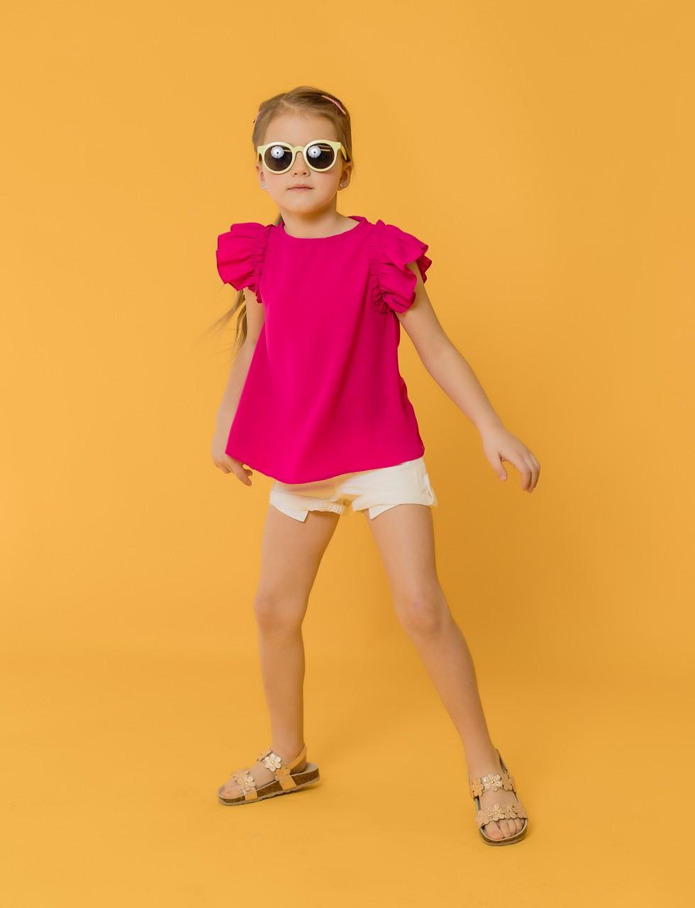 Girls Flutter Sleeve Top in Hot Pink