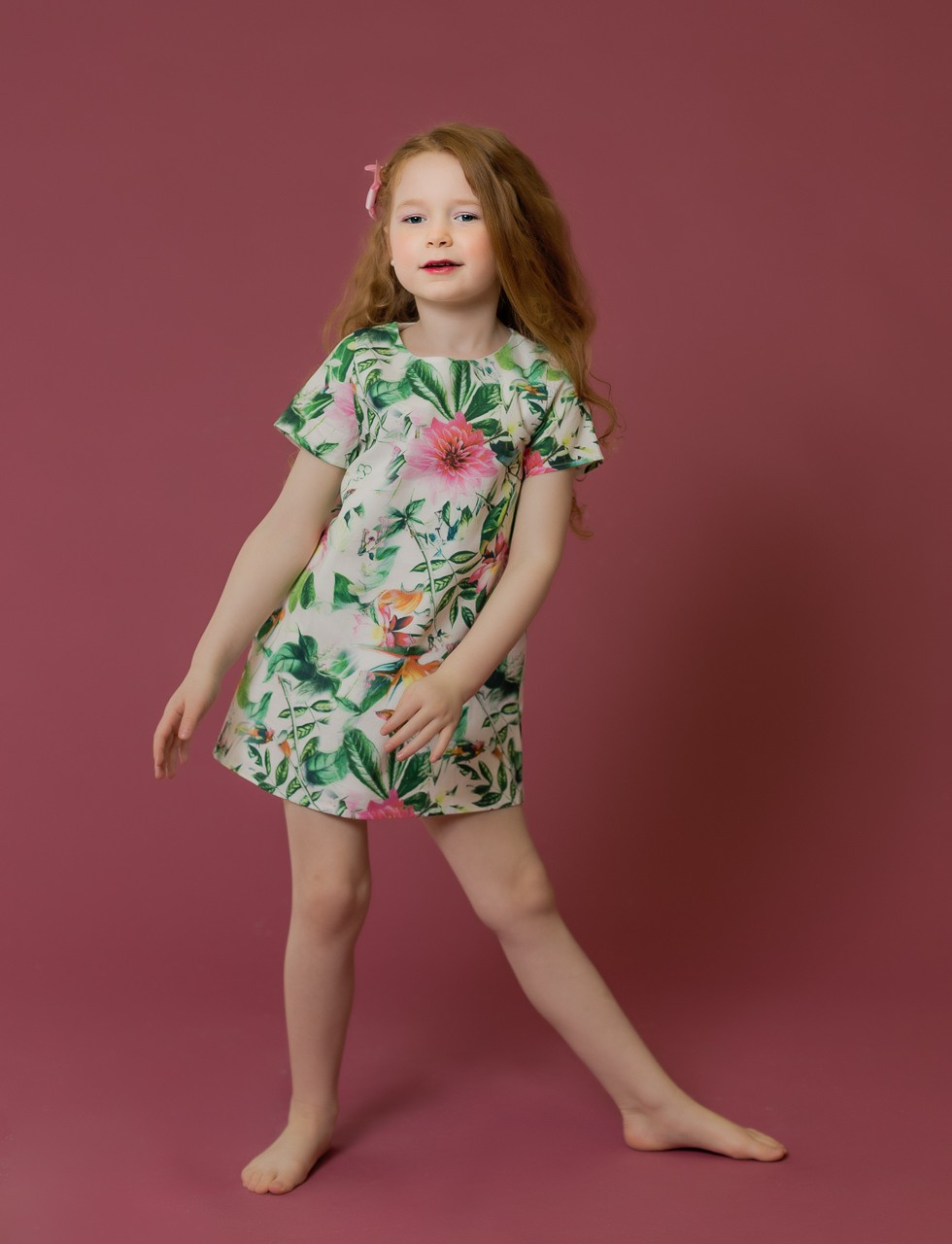 Girls Garden Print A-Line Dress