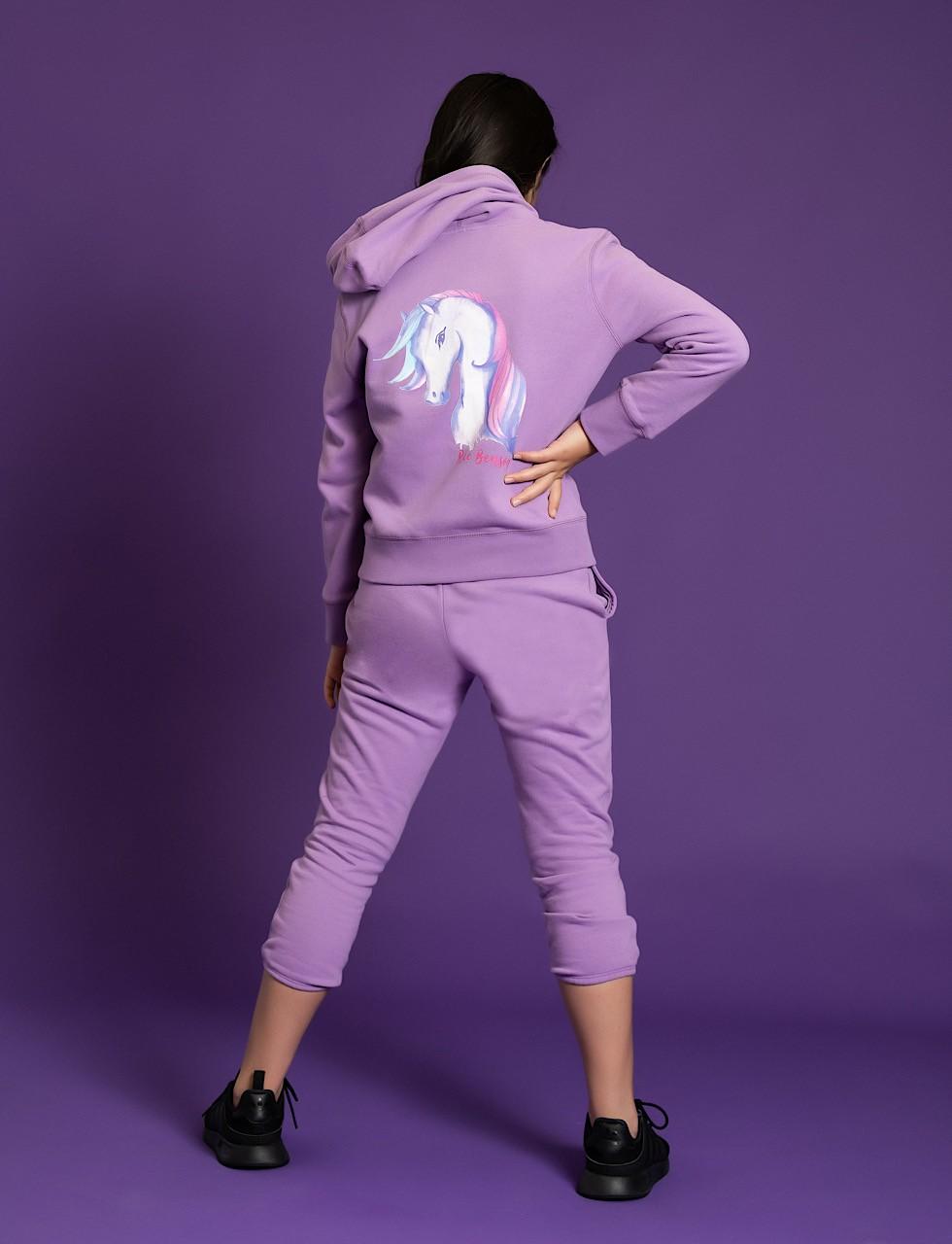 Girls Unicorn Hoodie Sweat Shirt + Sweat Pant Set in Purple