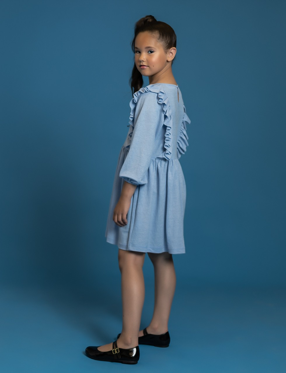 Girls Dress With Side Ruffles