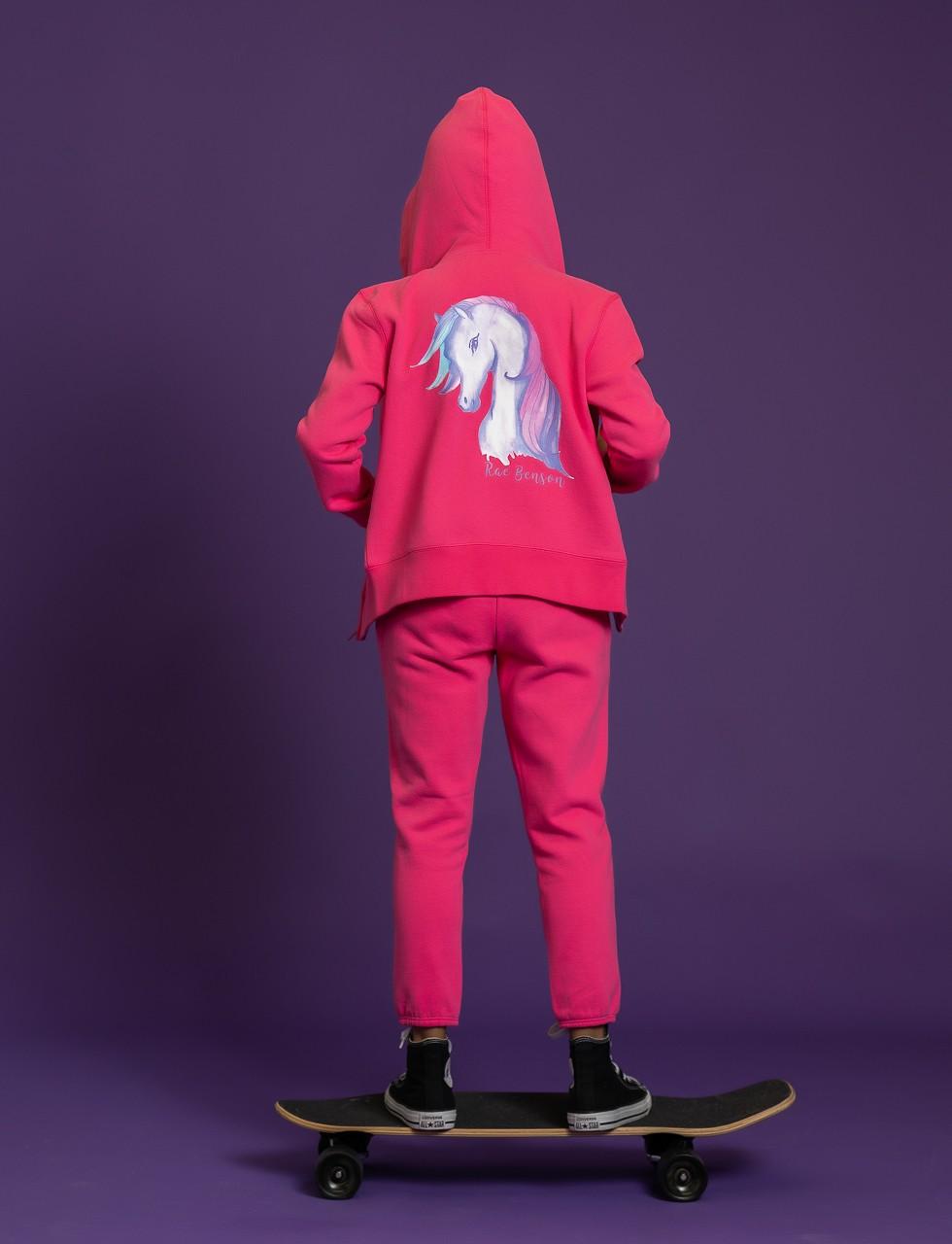 Girls Unicorn Hoodie Sweat Shirt in Pink