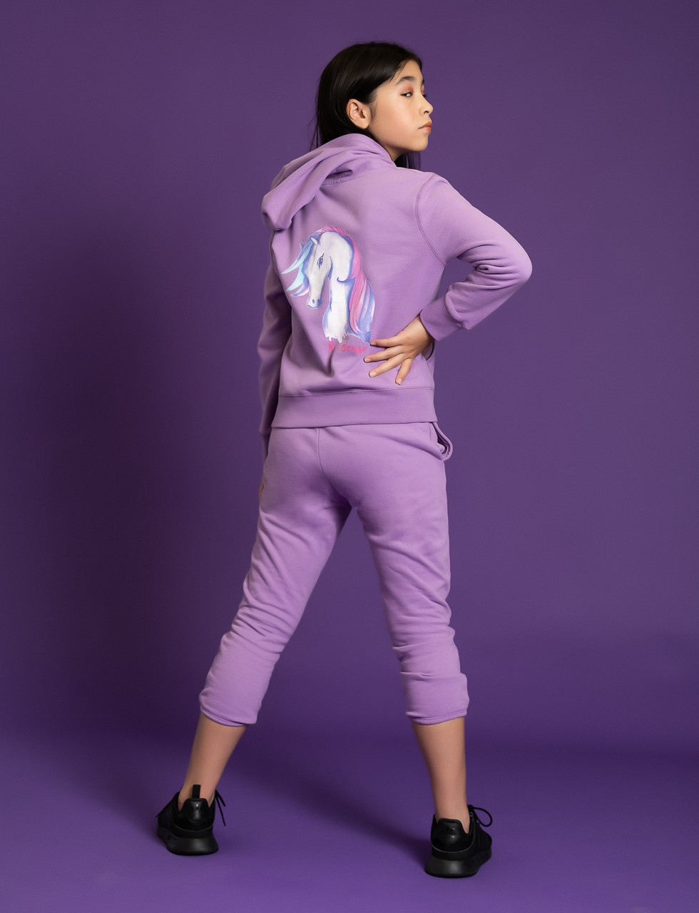 Girls Unicorn Hoodie Sweat Shirt in Purple