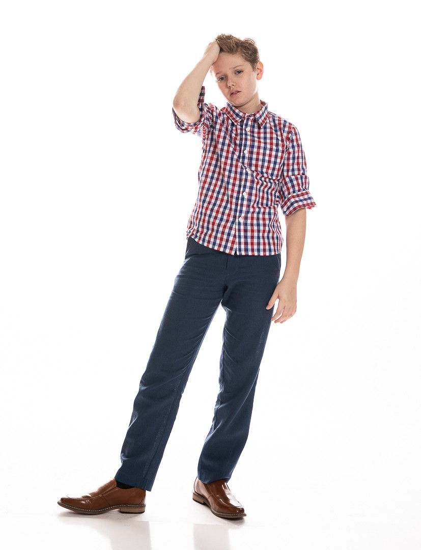Boys Button Down Shirt in Red Plaid
