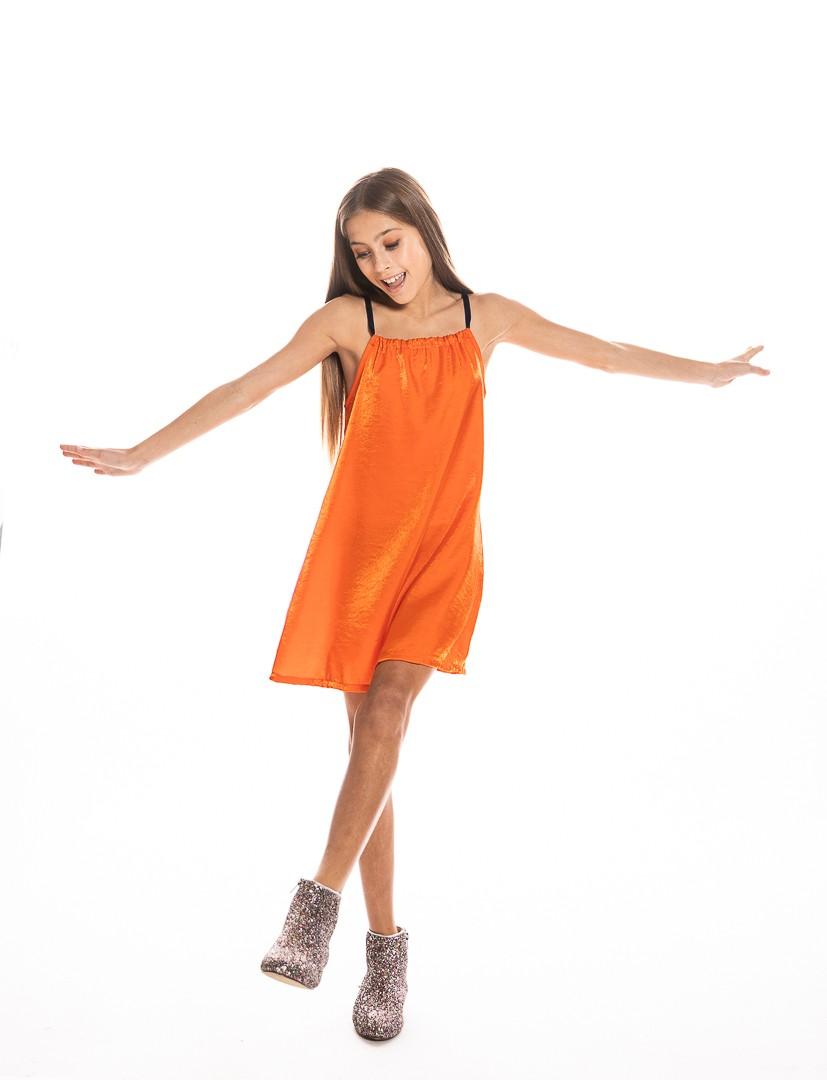 Strap Dress in Orange Shimmered Silk