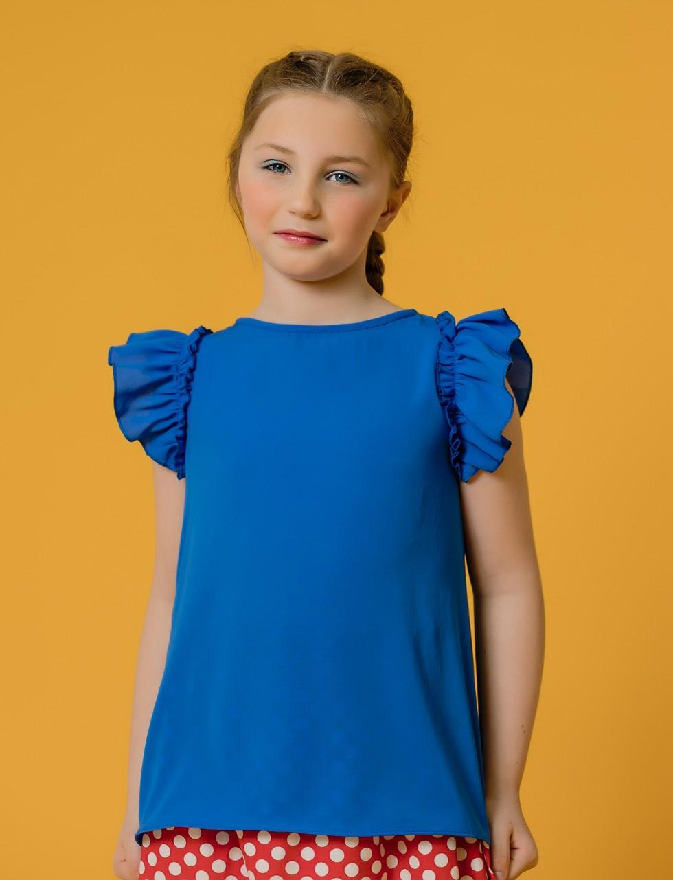 Girls Flutter Sleeve Top in Deep Blue